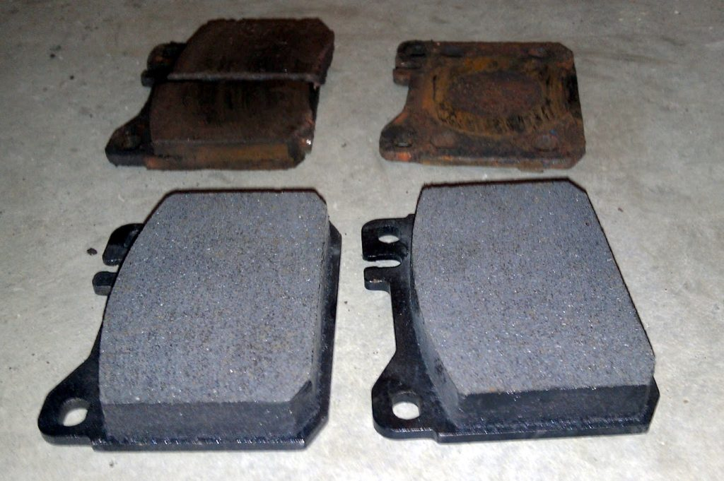 old and new brake pads compared