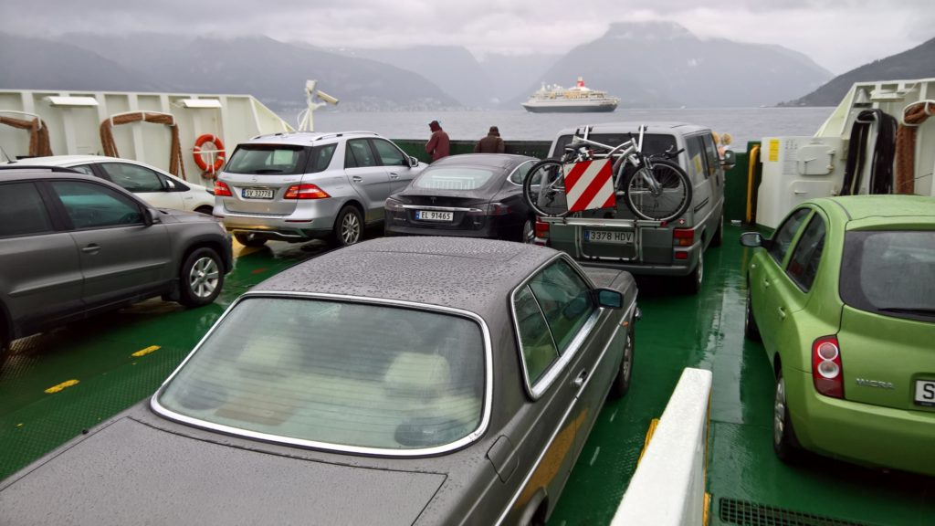 Crossing sognefjorden with ferry