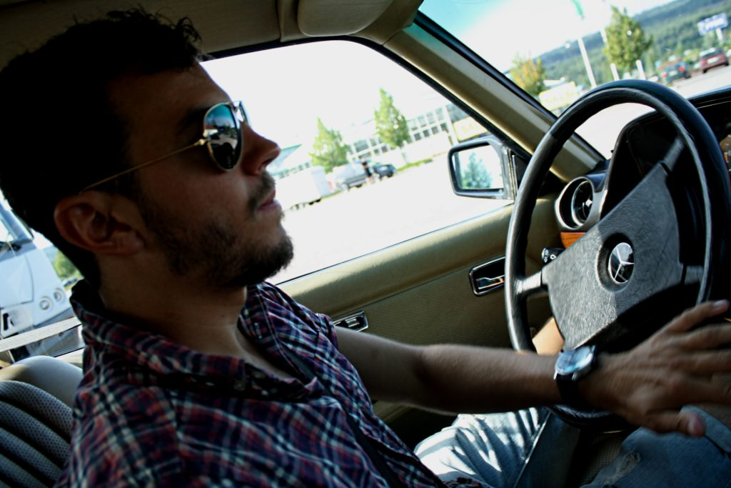 me driving the mercedes 280ce