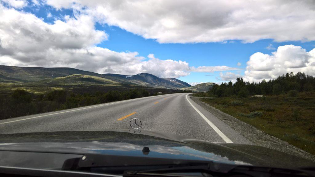 Driving Mercedes through mountainous terrain