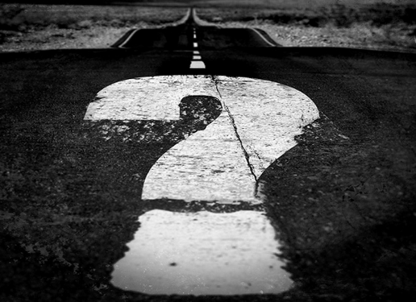 question mark in road