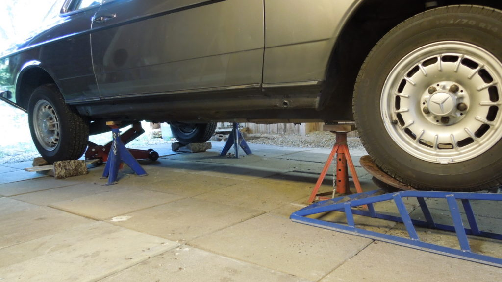 Car on jack stands