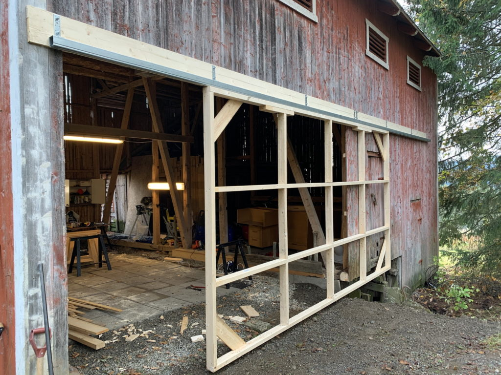 Garage door frame and sliding mechanism finished