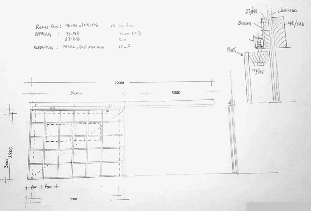 Blueprint of Garage door