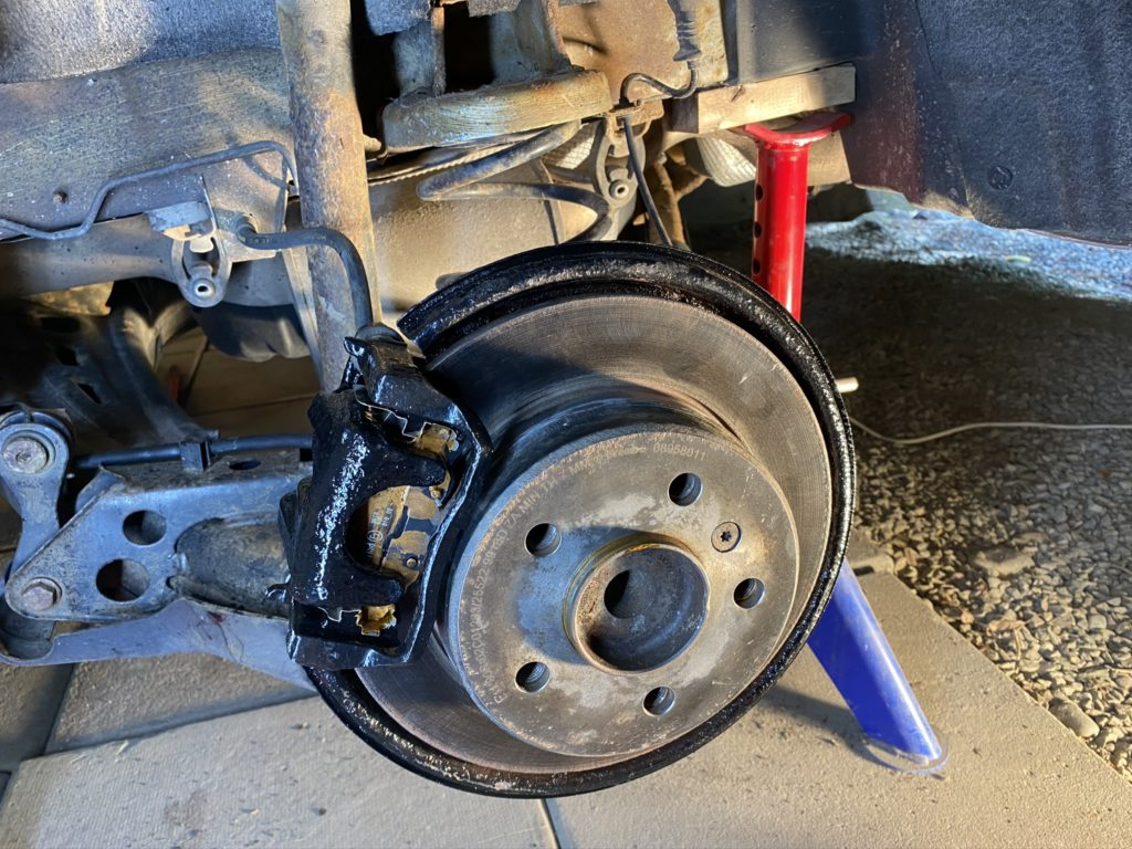 Freshly painted brake calipers